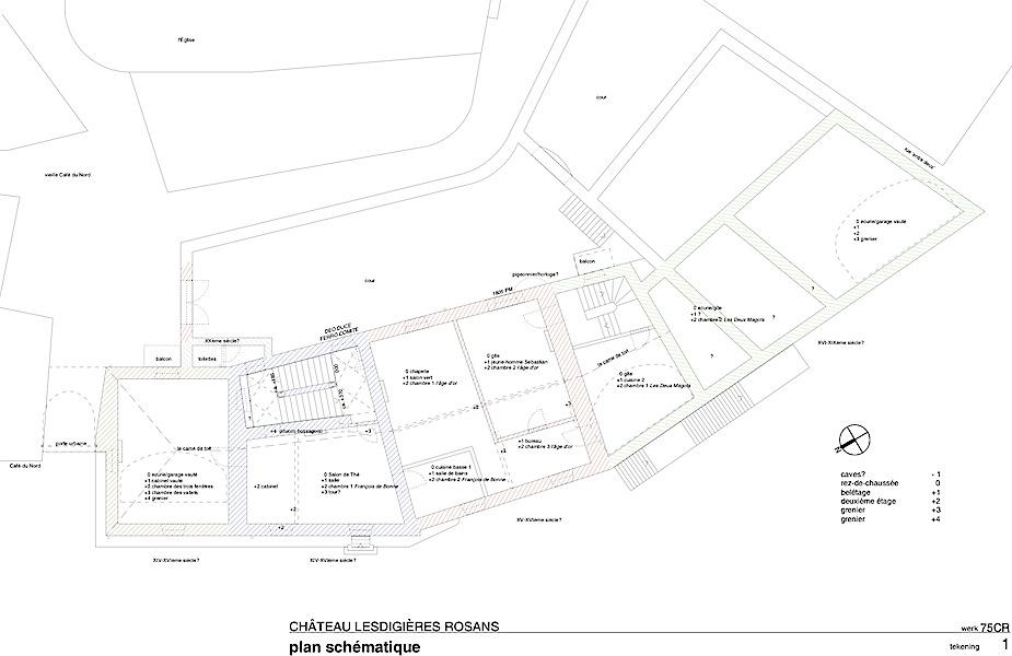 Rosans (F), tekening t.b.v. bouwhistorisch onderzoek en inmeting