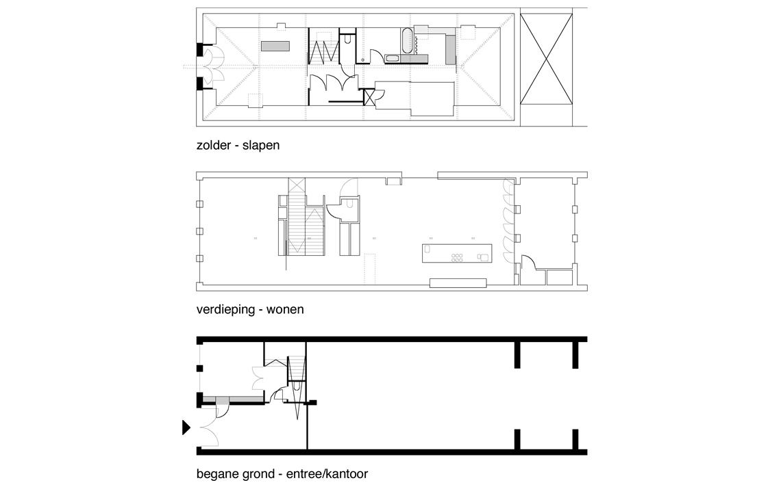 plattegronden herbestemming pakhuis tot loftwoning door architect Thomas Kemme
