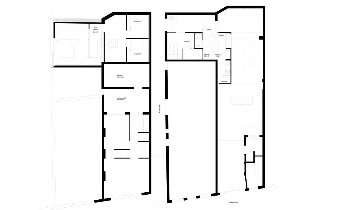 architectuur situatie voor na indeling lijntekening
